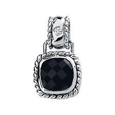 White Gold Checkerboard Black Onyx & Diamond Pendant