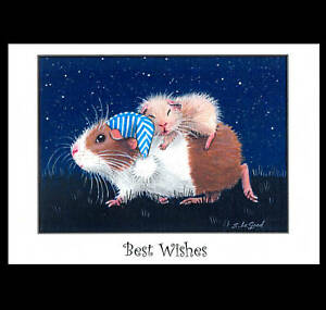 Guinea Pig art large greetings card from original painting by Suzanne Le Good