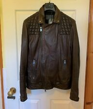 NEW AllSaints mens CONROY Biker leather jacket brown Medium 40