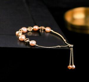 D12 Ventre Doré Bracelet Rose Perles D'Eau Douce Et Zircon Ornements