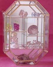 New 14 inch tall Medaliion shape CLEAR GLASS CURIO CABINET for Crystal Figurines