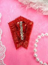 "0508 Crystal Rhinestone Red Sequin Beaded Applique 2"" (0508-rd)"