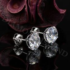 Real Solid 14K White Gold 4Ct Created Diamond Solitaire Earrings Studs ScrewBack