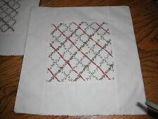"b/b1-Hand Made Pair Of Linen 14"" Floral Trellis (Laura Ashley?) Cushion Covers."