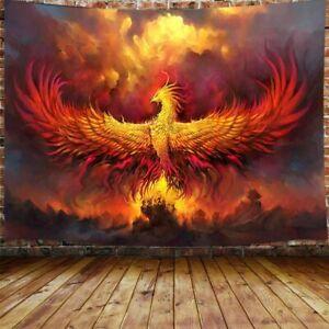 Golden Red Burning Phoenix Volcanic Ancient Mystic Animal Birds Hippie tapestry