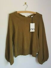 ZARA Cosy Green Jumper Puff Sleeves Back Detail BNWT Small S RRP £29.99