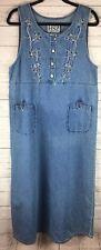 HSZ Blue Jean Denim Jumper Embroidered Floral Long Pockets 100% Cotton