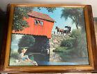 "Vintage Paul Detlefsen20"" x 16"" Boy Fishing by Mill Pond & Covered Bridge 1960's"