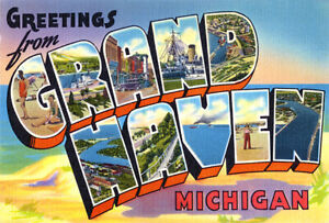 Greetings From Grand Haven, Michigan - 1930's - Vintage Postcard Poster