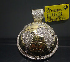 Real 10K Yellow Gold World Half Globe Pendant Charm With 1.38CT Diamonds/ Angel.