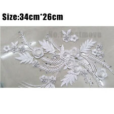 1x 3D Wedding Dress Lace Applique Bridal Headdress Lace Collar Fabric Applique