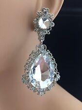 Victorian Style Bridal Pageant Clear Crystal Dangle Teardrop Earrings Clip-On