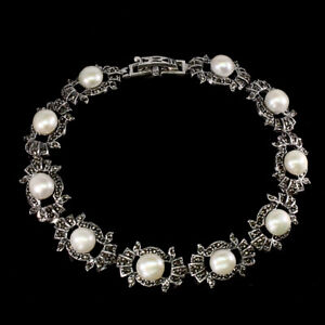 Round White Pearl 6.5mm Marcasite 925 Sterling Silver Bracelet 7.5 Inches