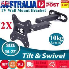 2Pc TV Monitor Wall Mount Bracket Tilt Swivel Mounting Holder Suit For 14''-27''