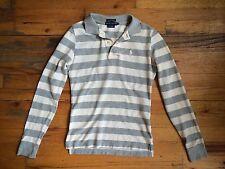 Ralph Lauren 100% Cotton The Skinny Polo Shirt Oatmeal Gray Stripe Sz Xs EUC
