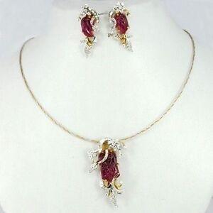 Set pendant Earrings Jewelry 18k Pure Gold Natural Tourmaline Diamond 3pc  Sale
