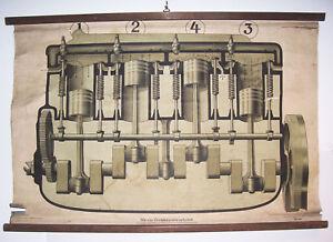 Rollkarte Schulkarte Wie ein Viertaktmotor arbeitet Schulmann Stuttgart 1920/30