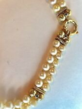 Estate 18k yellow gold 2 strand pearl, D 0.35ctw and sapphire choker necklace