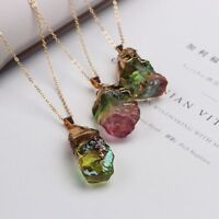 Natural Rock Colorful Stone Crystal Pendant Healing Quartz Necklace Gold Plated