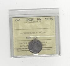 1902H , ICCS  Graded Canadian,  10  Cent, **AU-50**