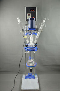 5l Chemical Lab Jacketed Glass Reactor Vessel Digital Display 220v