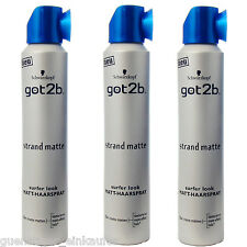(31,35 €/ L) 3x 200mL Schwarzkopf got2b Beach Mat Surfer Look Matt Hairspray