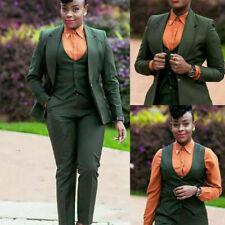 3 Piece Women Suits Slim Fit Formal Wedding Business Wear Wide Peak Lapel Tuxedo