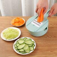 Multifunktions Chopper Manuelle Reibe Gemüse Obst Slicer Edelstahl Küche DE