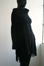 Iconic SPORTMAX Berbice Black Off-The-Shoulder Cable Knit Fringe Dress FAB!! S/M