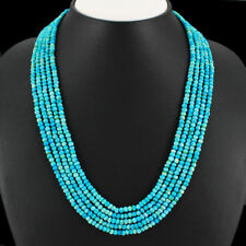 245.00 CTS NATURAL UNTREATED 5 LINE STRAND TURQUOISE BEADS NECKLACE