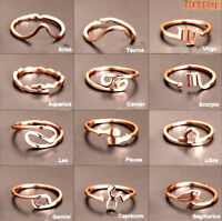 New Design 12 Constellations Zodiac Sign Finger Rings Rose Gold Color Titanium