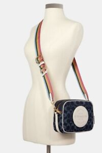 NWT COACH C2822 Dempsey Camera Bag W Signature Jacquard & Coach Patch Denim