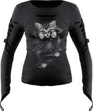Spiral Bright Eyes Slashed Goth Glove Top Long Sleeve Large Black Fm128238