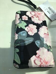 Betsey Johnson Black And Pink Flower Themed Wristlet - Absolutely Beautiful Ref*
