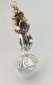 Crystal Ball Necklace Victorian Hand Pendant Pool of Light Rock Crystal Orb