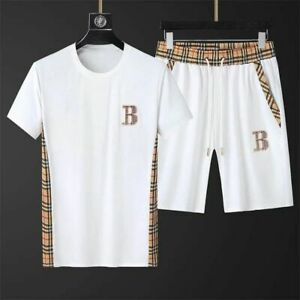 Mens Tracksuit Set Short Sleeve T Shirt Top Bottoms Shorts Summer Gym Sport Wear