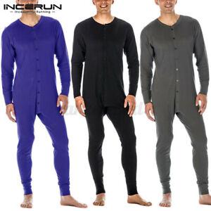 Men Bodysuit Leotard Jumpsuit V-Neck Long Johns Playsuit Loungwear Overall Pants