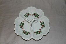Vintage Christmas Sectioned Candy Dish Porcelain Holly Berry with Handle - Japan