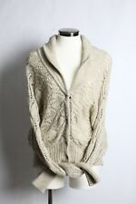 Free People Wool Chunky Cable Knit Sweater Cardigan Hidden Buttons Tan Size S