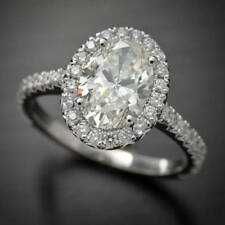 2.05 Ct Halo Oval Near White Moissanite Engagement Wedding Ring 9K White Gold
