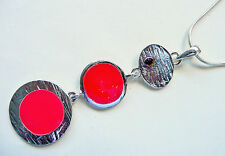 & Silver Long Detailed Pendant – New Accessorize Silver Necklace – 3 Part Red