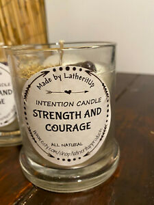 Strength & Courage Intention Candle/Soy Wax Candle/Herb and Crystal Candle/Spiri
