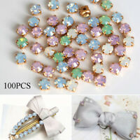 100PCS 6mm Sewing On Opal Glass Crystals Rhinestones Flatback Beads Gold Claw