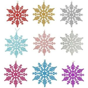 Christmas Tree Decorations - 6 Pack Glitter Snowflakes - Choose Colour