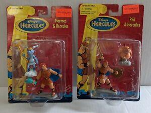 Pair NIB Vtg Mattel Disney Movie Hercules & Hermes Phil & Hercules Figures Sets