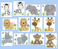 Safari Baby Nursery Decal Jungle Animals Wall Art Mural Kid Room Stickers Decor