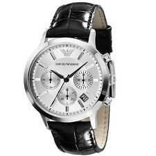 Emporio Armani Men's AR2432 Classic Chronograph Silver dial Black Leather Watch