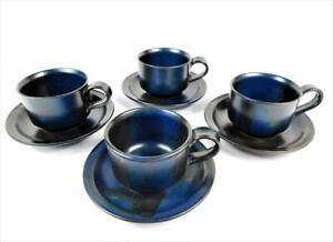 4 IRON MOUNTAIN BLUE RIDGE CUPS AND SAUCERS