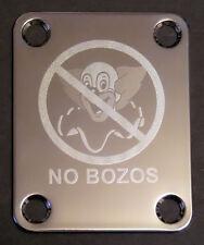 Engraved Photo Etched GUITAR NECK PLATE - NO BOZOS - Clown EVH - Chrome