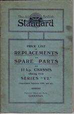 Standard 11 HP CHASSIS SERIE V3 1924-25 ORIGINALE illust. PEZZI di ricambio listino prezzi